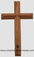 Single Layer Beveled Small Wooden Cross - Cherry