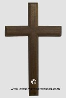 Traditional Edge Beveled Small Wooden Cross  - Walnut